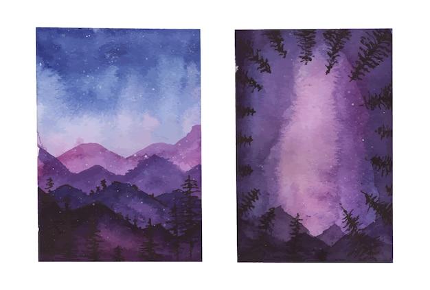 Prachtige aquarel landschap van nachtelijke hemel met heuvels