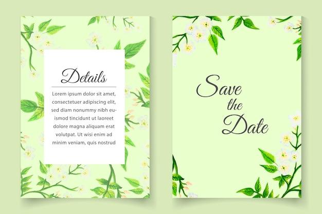 Prachtige aquarel lente bloemen bruiloft uitnodigingskaart set sjabloon