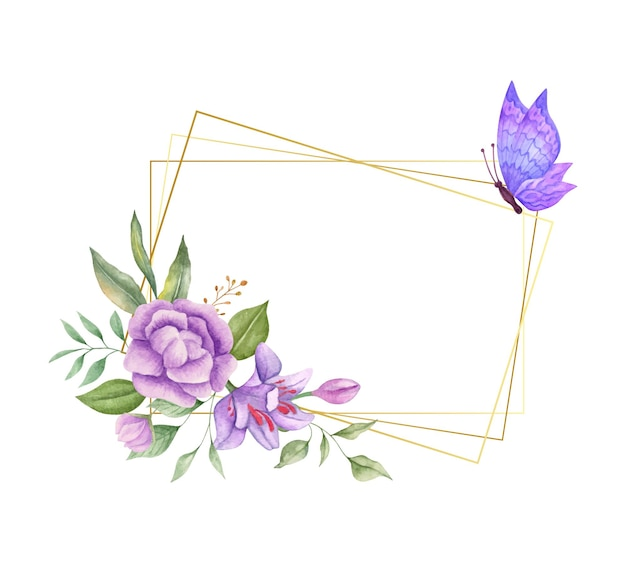 Prachtige aquarel lente bloemen frame met mooie vlinder