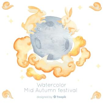 Prachtige aquarel medio herfst festival achtergrond
