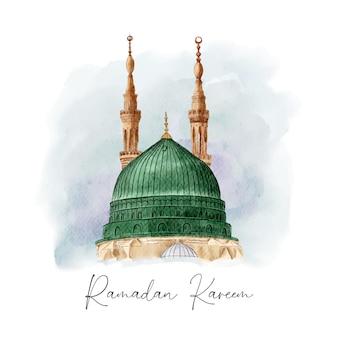 Prachtige aquarel moskee ramadan sjabloon