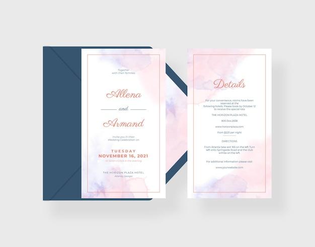 Prachtige aquarel trouwkaartsjabloon