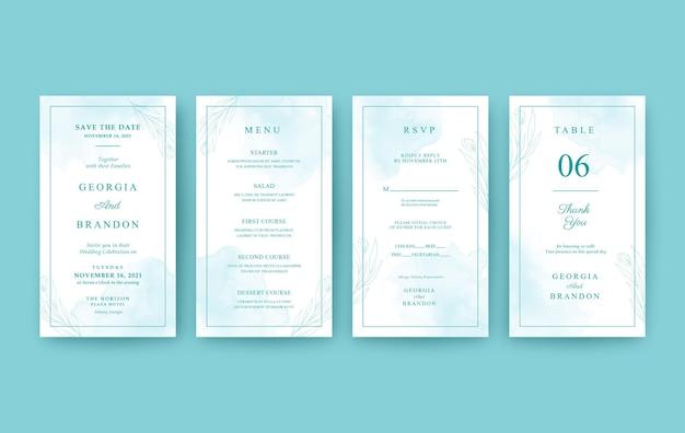 Prachtige aquarel verticale bruiloft uitnodiging voor mobiel