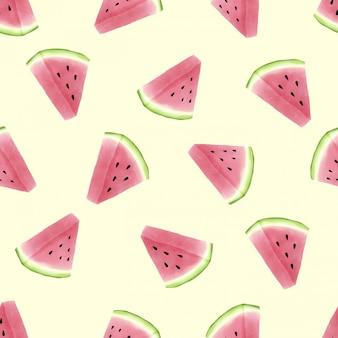 Prachtige aquarel zomer watermeloen naadloze patroon