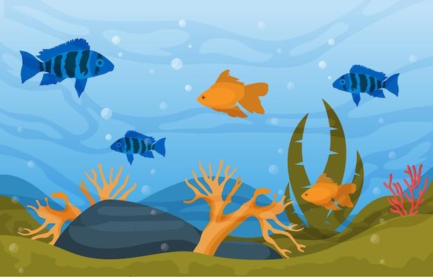 Prachtige aquariumvissen kleurrijke reef water plant illustratie
