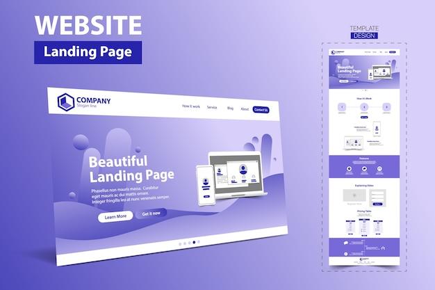 Prachtige bestemmingspagina website vector sjabloonontwerp