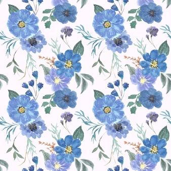 Prachtige blauwe bloemen aquarel naadloze patroon