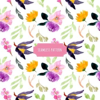 Prachtige bloemen aquarel naadloze patroon