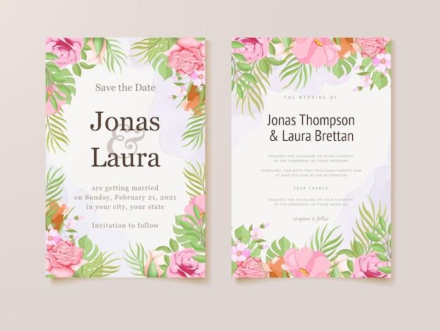 Prachtige bloemen bruiloft uitnodiging kaartsjabloon