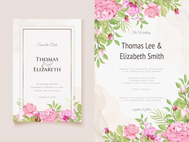 Prachtige bloemen bruiloft uitnodiging ontwerpsjabloon