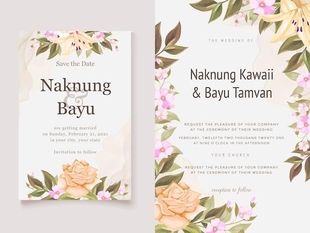 Prachtige bloemen bruiloft uitnodiging sjabloonontwerp