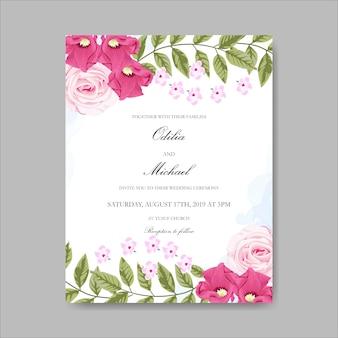 Prachtige bloemen bruiloft uitnodigingskaarten