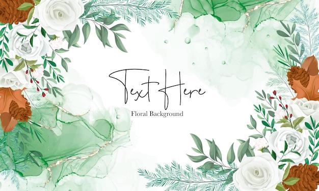 Prachtige bloemenachtergrond met witte roos en dennenbloem