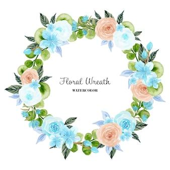 Prachtige bloemenkrans van blauw en perzik