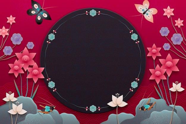Prachtige bloementuin met rotsen en beestjes in papierkunststijl, donkere fuchsia-tint