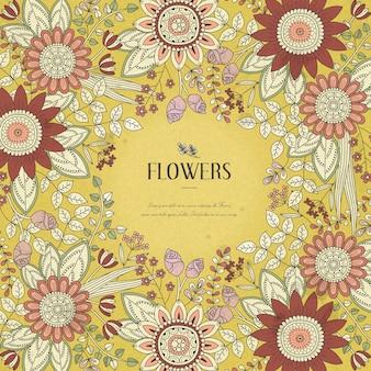 Prachtige bloemkader kleurplaat in exquise stijl