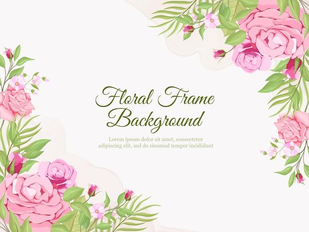 Prachtige bruiloft banner achtergrond bloemen en blad sjabloonontwerp