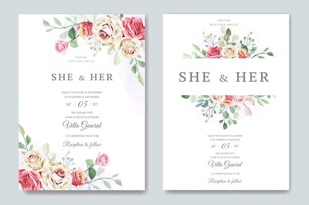 Prachtige bruiloft kaart in elegante rozen sjabloon
