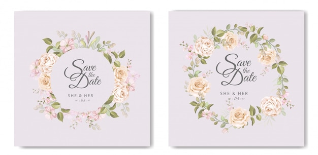 Prachtige bruiloft kaart met bloemen en bladeren sjabloon
