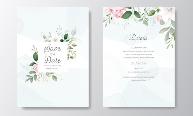 Prachtige bruiloft uitnodiging bloemen aquarel en groene bladeren