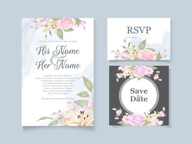 Prachtige bruiloft uitnodiging floral