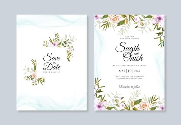 Prachtige bruiloft uitnodiging sjabloon met aquarel bloemen