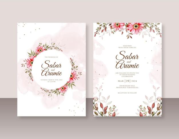 Prachtige bruiloft uitnodiging sjabloon met bloemen aquarel schilderij