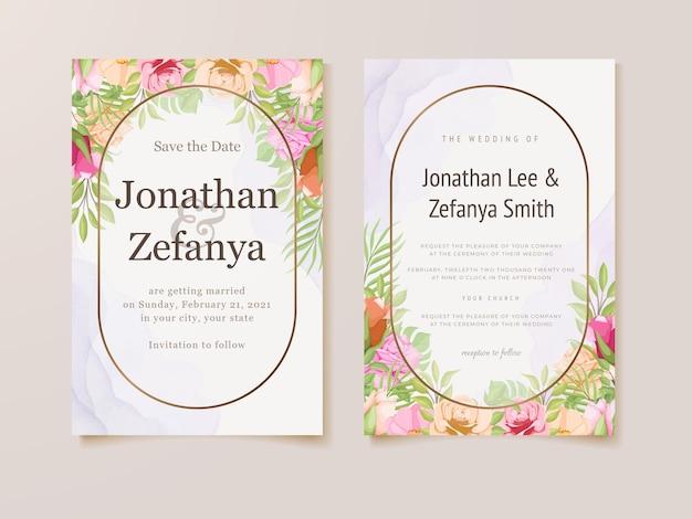 Prachtige bruiloft uitnodigingskaart bloemen sjabloonontwerp