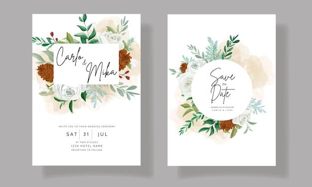 Prachtige bruiloft uitnodigingskaart set met groene bladeren, witte roos en dennenbloem