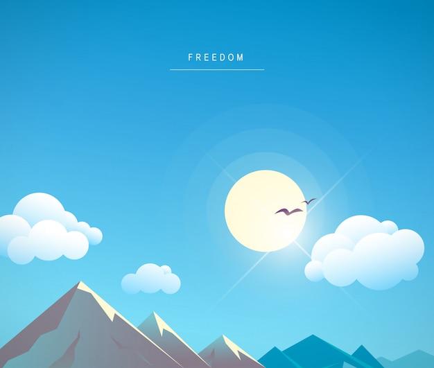 Prachtige cartoon berglandschap zomer illustratie. stralende zon in blauwe lucht, witte wolken. vliegende vogels, zonnestralen. tekstplaats. afdrukken, poster, aanplakbiljet, kaart, zomerreclame