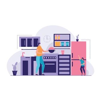 Prachtige familie in de keuken