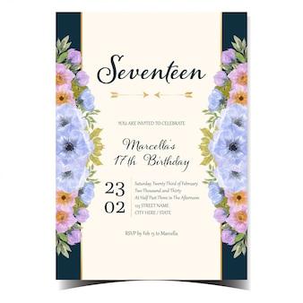 Prachtige gelukkige verjaardagskaart met kleurrijke bloemen en gouden frame