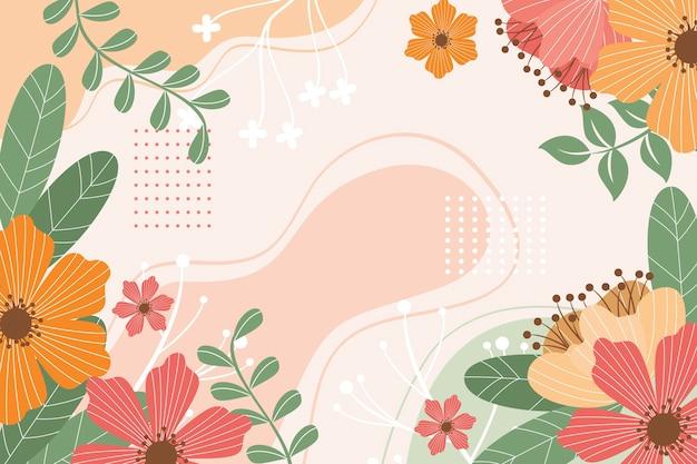 Prachtige getekende lente achtergrond met bloemen