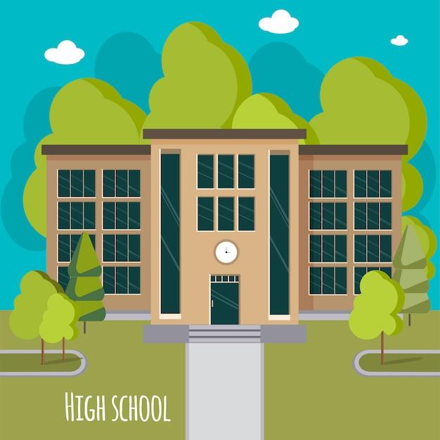 Prachtige gevel van de middelbare school