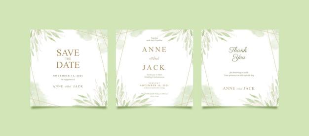 Prachtige groene aquarel instagram-post voor bruiloft