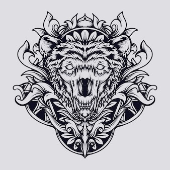 Prachtige handgemaakte design beer schedel gravure ornament