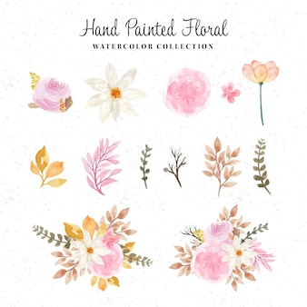 Prachtige handgeschilderde bloemen aquarel collectie