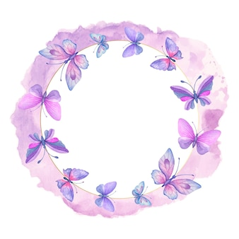 Prachtige handgetekende aquarel lente vlinders frame