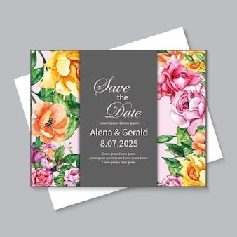 Prachtige handgetekende bloemen bruiloft uitnodiging sjabloon voor harde kaft