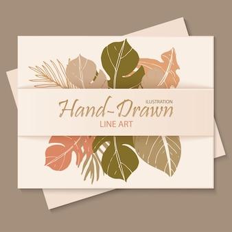Prachtige handgetekende lijntekeningen bloemen uitnodigingskaartsjabloon