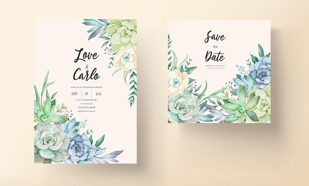 Prachtige handtekening aquarel succulente plant en bloem bruiloft uitnodiging sjabloon