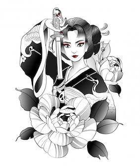 Prachtige japanse geisha met zwaard in de hand