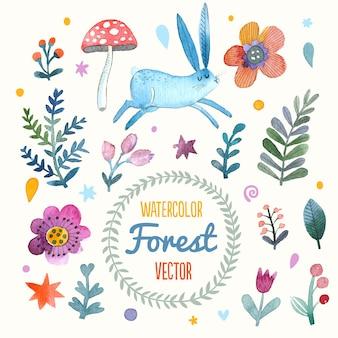 Prachtige kaart met schattige konijnenbloemen, bladeren en paddenstoelen in geweldige kleuren