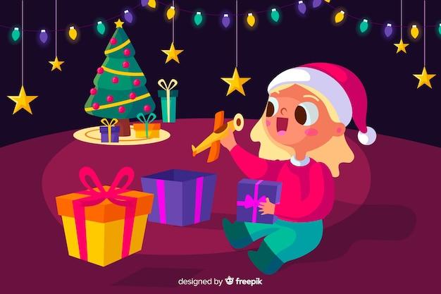 Prachtige kerst achtergrond in plat design