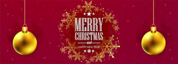 Prachtige kerst sneeuwvlok kaart viering banner