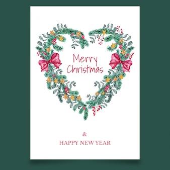 Prachtige kerst wenskaart met strik in de vorm van hart