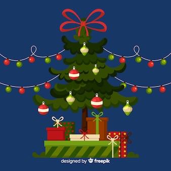 Prachtige kerstboom platte ontwerpstijl