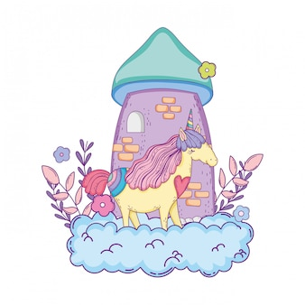 Prachtige kleine eenhoorn met kasteel in de wolken