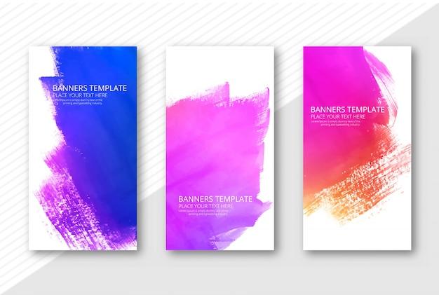 Prachtige kleurrijke aquarel banners instellen