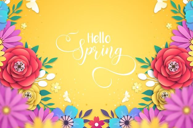 Prachtige lente achtergrond in papier stijl